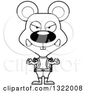 Lineart Clipart Of A Cartoon Black And White Mad Mouse Hiker Royalty Free Outline Vector Illustration
