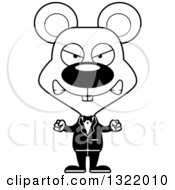 Lineart Clipart Of A Cartoon Black And White Mad Mouse Groom Royalty Free Outline Vector Illustration
