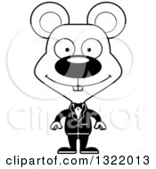 Lineart Clipart Of A Cartoon Black And White Happy Mouse Groom Royalty Free Outline Vector Illustration