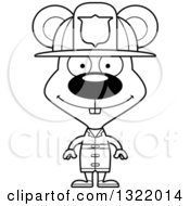 Lineart Clipart Of A Cartoon Black And White Happy Mouse Fire Fighter Royalty Free Outline Vector Illustration