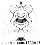 Lineart Clipart Of A Cartoon Black And White Mad Mouse Wizard Royalty Free Outline Vector Illustration