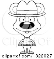 Lineart Clipart Of A Cartoon Black And White Happy Mouse Cowboy Royalty Free Outline Vector Illustration