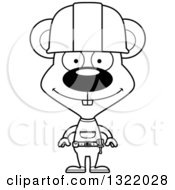 Poster, Art Print Of Cartoon Black And White Happy Mouse Construction Worker