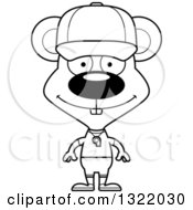 Lineart Clipart Of A Cartoon Black And White Happy Mouse Coach Royalty Free Outline Vector Illustration