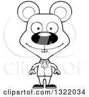 Lineart Clipart Of A Cartoon Black And White Happy Mouse Business Man Royalty Free Outline Vector Illustration