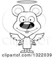 Lineart Clipart Of A Cartoon Black And White Happy Mouse Angel Royalty Free Outline Vector Illustration