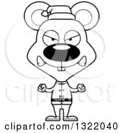 Lineart Clipart Of A Cartoon Black And White Mad Mouse Christmas Elf Royalty Free Outline Vector Illustration