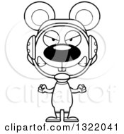 Lineart Clipart Of A Cartoon Black And White Mad Mouse Wrestler Royalty Free Outline Vector Illustration