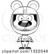 Lineart Clipart Of A Cartoon Black And White Happy Mouse Race Car Driver Royalty Free Outline Vector Illustration