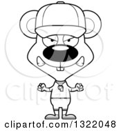 Lineart Clipart Of A Cartoon Black And White Mad Mouse Coach Royalty Free Outline Vector Illustration