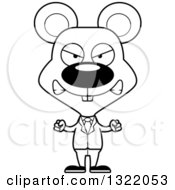 Lineart Clipart Of A Cartoon Black And White Mad Mouse Business Man Royalty Free Outline Vector Illustration