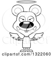 Lineart Clipart Of A Cartoon Black And White Mad Mouse Angel Royalty Free Outline Vector Illustration