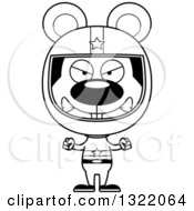 Lineart Clipart Of A Cartoon Black And White Mad Mouse Race Car Driver Royalty Free Outline Vector Illustration