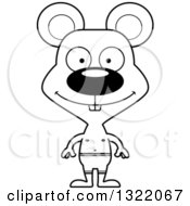 Lineart Clipart Of A Cartoon Black And White Happy Mouse Swimmer Royalty Free Outline Vector Illustration