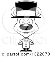 Lineart Clipart Of A Cartoon Black And White Happy Mouse Circus Ringmaster Royalty Free Outline Vector Illustration