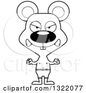 Lineart Clipart Of A Cartoon Black And White Mad Mouse Swimmer Royalty Free Outline Vector Illustration