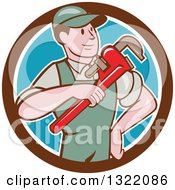 Clipart Of A Retro Cartoon White Male Plumber Holding A Giant Monkey Wrench In A Brown White And Blue Circle Royalty Free Vector Illustration
