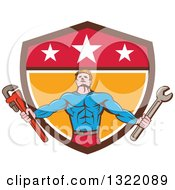 Retro Cartoon Muscular Male Super Hero Holding Spanner And Monkey Wrenches And Emerging From A Shield
