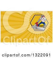 Clipart Of A Cartoon Plumber Using A Giant Monkey Wrench On A Pipe And Orange Rays Background Or Business Card Design Royalty Free Illustration