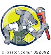 Clipart Of A Cartoon Plumber Dog Holding Up A Monkey Wrench In A Blue White And Green Circle Royalty Free Vector Illustration