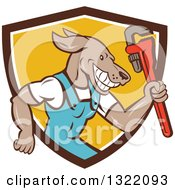 Clipart Of A Retro Cartoon Plumber Dog Holding Up A Monkey Wrench In A Brown White And Yellow Shield Royalty Free Vector Illustration