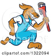 Clipart Of A Cartoon Plumber Dog Running With A Monkey Wrench Royalty Free Vector Illustration