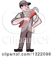Clipart Of A Retro Cartoon White Male Plumber Holding A Monkey Wrench Royalty Free Vector Illustration