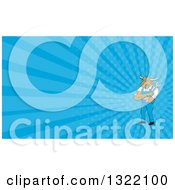 Clipart Of A Cartoon Bull Man Mechanic With Folded Arms Holding A Wrench And Blue Rays Background Or Business Card Design Royalty Free Illustration