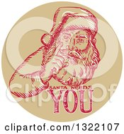 Clipart Of A Retro Engraved Santa Claus With Text In A Circle Royalty Free Vector Illustration
