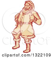 Clipart Of A Retro Engraved Santa Claus Giving A Thumb Up Royalty Free Vector Illustration