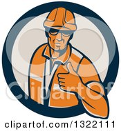 Clipart Of A Retro Male Construction Worker Giving A Thumb Up In A Navy Blue And Tan Circle Royalty Free Vector Illustration