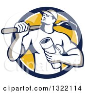Clipart Of A Retro Drainlayer Man Carrying A Shovel And Pipe In A Blue White And Yellow Circle Royalty Free Vector Illustration