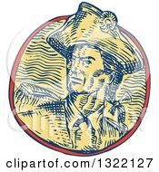 Clipart Of A Retro Engraved Or Sketched Retro American Patriot Minuteman Revolutionary Soldier In A Circle Royalty Free Vector Illustration