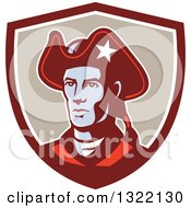Clipart Of A Retro American Patriot Minuteman Revolutionary Soldier In A Maroon White And Tan Shield Royalty Free Vector Illustration by patrimonio
