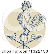 Clipart Of A Retro Engraved Rooster Crowing On A Weather Vane Royalty Free Vector Illustration