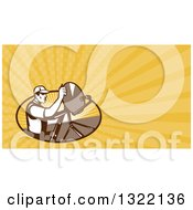 Retro Male Satellite Installer Adjusting A Dish And Yellow Rays Background Or Business Card Design 2