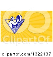 Retro Male Satellite Installer Adjusting A Dish And Yellow Rays Background Or Business Card Design