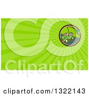 Retro Cartoon Hybrid Electric Car With A Plug In A Circle And Green Rays Background Or Business Card Design