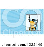 Clipart Of A Retro Window Washer On A Ladder And Blue Rays Background Or Business Card Design Royalty Free Illustration