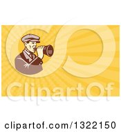 Clipart Of A Retro Male Movie Director Using A Bullhorn And Orange Rays Background Or Business Card Design Royalty Free Illustration by patrimonio