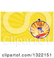 Clipart Of A Retro Male Marathon Runner Over A Sunset And Yellow Rays Background Or Business Card Design Royalty Free Illustration