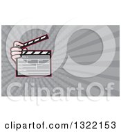 Clipart Of A Cartoon Hand Holding A Clapperboard And Gray Rays Background Or Business Card Design 2 Royalty Free Illustration