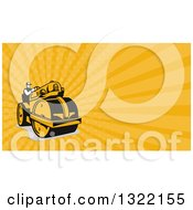 Retro Man Operating A Road Roller And Orange Rays Background Or Business Card Design