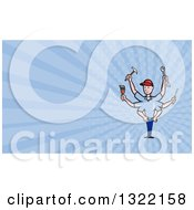 Clipart Of A Cartoon Male Handyman With Many Arms And Tools And Blue Rays Background Or Business Card Design Royalty Free Illustration
