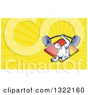 Clipart Of A Retro Bald Male Bodybuilder Lifting A Barbell And Yellow Rays Background Or Business Card Design Royalty Free Illustration