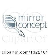 Clipart Of A Gradient Hand Mirror And Sample Text Royalty Free Vector Illustration by AtStockIllustration