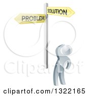 Clipart Of A 3d Silver Man Looking Up At Gold Problem And Solution Crossroads Signs Royalty Free Vector Illustration