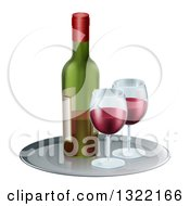 Clipart Of A 3d Tray With Glasses Of Red Wine And A Bottle Royalty Free Vector Illustration