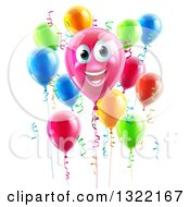 Clipart Of A 3d Pink Smiling Birthday Balloon Character With Other Balloons And Ribbons Royalty Free Vector Illustration