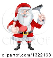 Clipart Of A Christmas Santa Claus Giving A Thumb Up And Holding A Window Cleaning Squeegee 2 Royalty Free Vector Illustration